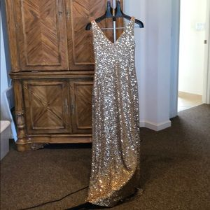 Gold sequence Ralph Lauren evening gown